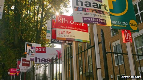 Estate agent signs in London
