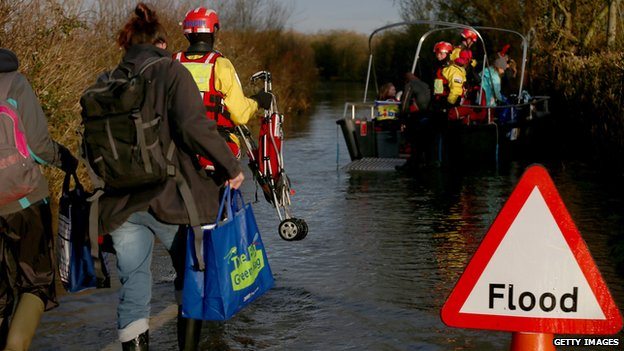 Boat service to flooded Muchelney