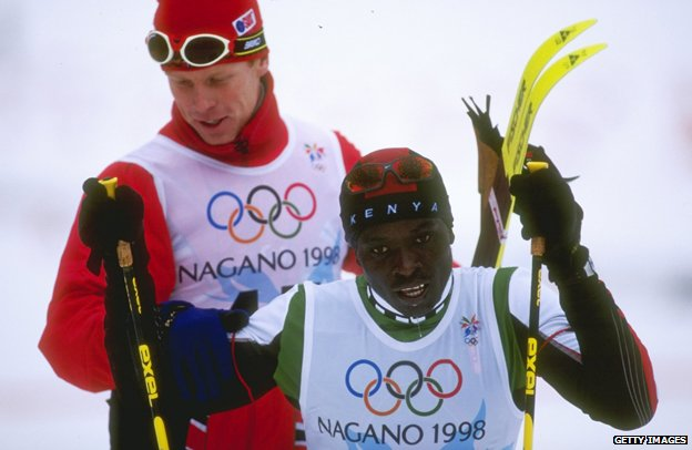 Bjorn Daehlie (L) and Philip Boit at the finish line in Nagano in 1998