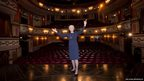 British actress and singer Dame Angela Lansbury is photographed on stage at the Gielgud Theatre in central London