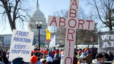 Protesters hold up signs during the January 22, 2014, March of Life in Washington, DC.