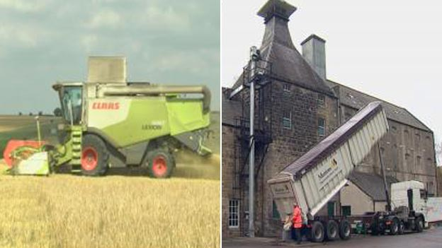 Combine harvester and Speyburn distillery