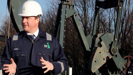 David Cameron at shale gas plant