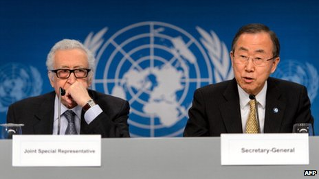 Lakhdar Brahimi (L) and Ban Ki-moon
