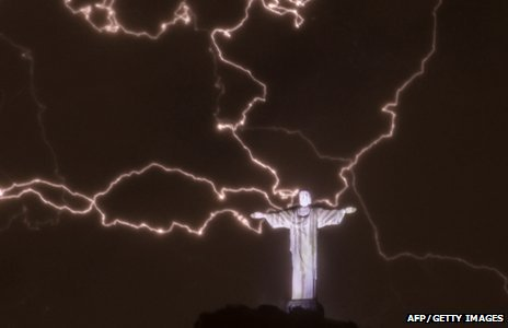 Lightning flashes over Rio's Christ the Redeemer statue
