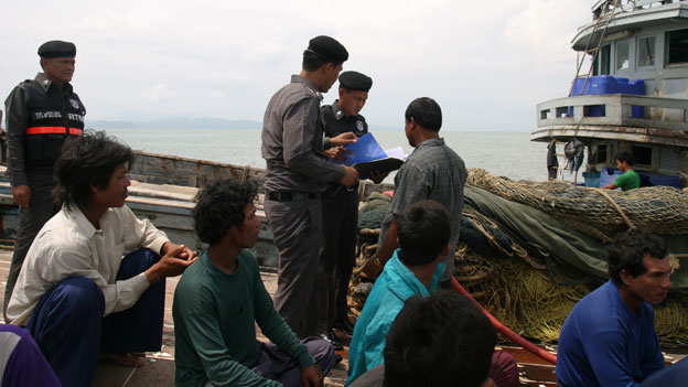 Checks taking place on a fishing boat