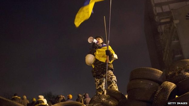 Protester in Kiev, 23 Jan