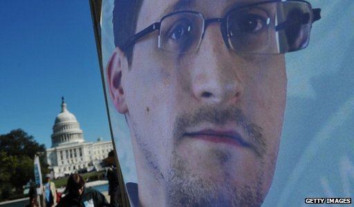 Edward Snowden poster outside the White House