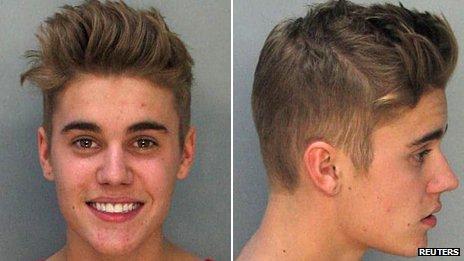 Justin Bieber's police mugshots