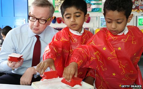 Michael Gove during an art lesson with London primary school pupils