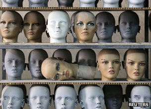 Mannequin heads at a factory in Turkey