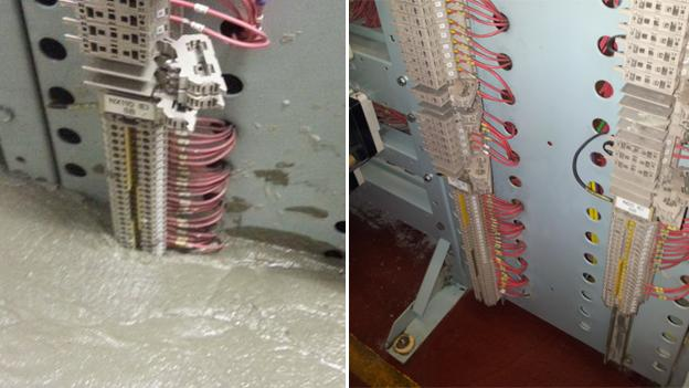 Before and after shots of the control room flooded with wet concrete Copyright: Us Vs Th3m and TfL
