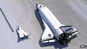 Artist's impression of Dream Chaser and shuttle