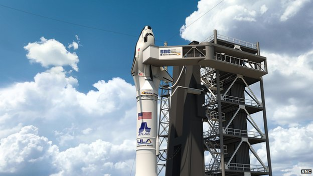 An artist's impression of the Dream Chaser atop its Atlas rocket, ready for launch