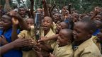 The Queen's baton visits Musanze, Rwanda, where it was met by hundreds of enthusiastic schoolchildren