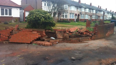 Damage from the crash on Ansty Road
