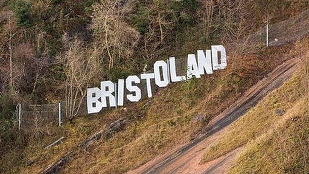 Photograph of the 'Bristoland' sign