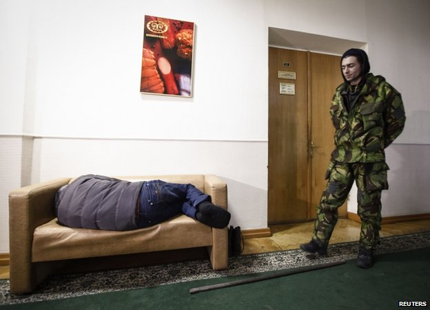 Protesters inside the agricultural policy ministry in Kiev, 24 January