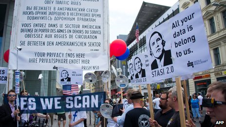 Protests in Berlin over reports of US spying