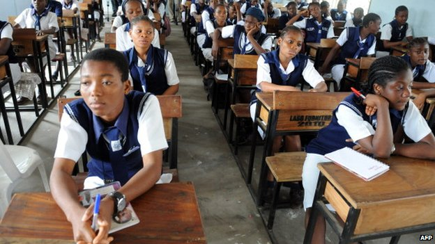 Students sit during lecture at Government Secondary School, Ikoyi in Lagos, Nigeria's commercial capital - November 2012