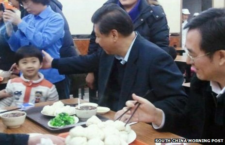 President Xi Jinping with a plate of steamed pork buns