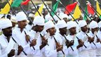 "Ethiopian orthodox worshippers participate in the annual Epiphany celebrations called ""Timket"" in Addis Ababa on 18 January 2014"