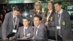 Group of School Reporters in the BBC North studio reading the autocue