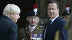 Prime Minister David Cameron and London Mayor Boris Johnson arrive for the funeral of Fusilier Lee Rigby