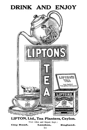 Lipton's tea advertisement from the original guidebook