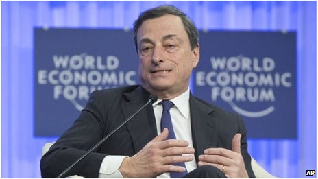 European Central Bank President Mario Draghi at the World Economic Forum in Davos, Switzerland