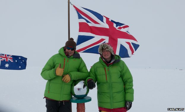 Lewis Clarke and Carl Alvey at the South Pole
