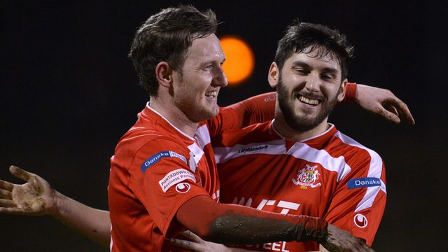 Portadown's Gary Twigg celebrates with team-mate Sean Mackle