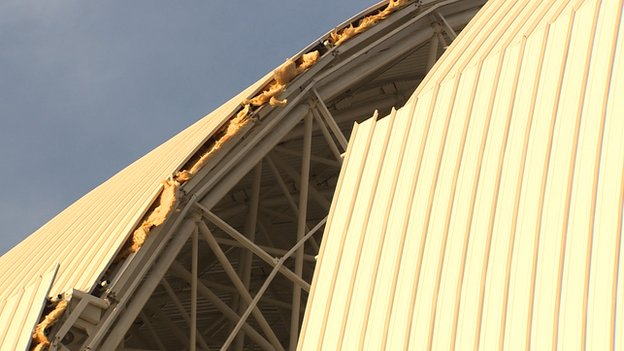 Insulation and lagging are visible in several parts of the Natal stadium