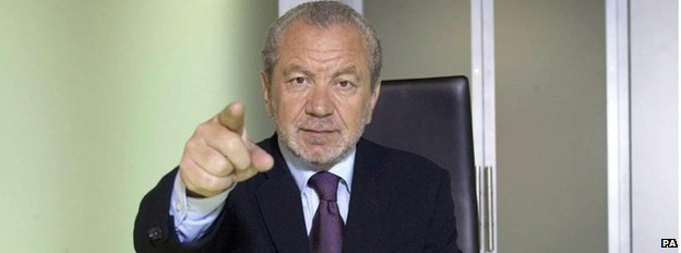 Lord Alan Sugar pointing at the camera