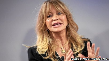 The US actress Goldie Hawn speaking at the World Economic Forum