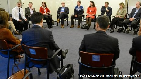 Delegates at a mindfulness meeting at the World Economic Forum