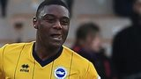 Brighton's Rohan Ince celebrates his first-half strike against Port Vale