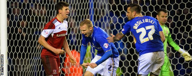 Ritchie De Laet celebrates his game-clinching goal against Middlesbrough
