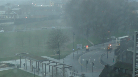 People took pictures of the storm hail storm from Birmingham City University, Millennium Point