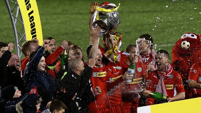 Cliftonville celebrate their League Cup success