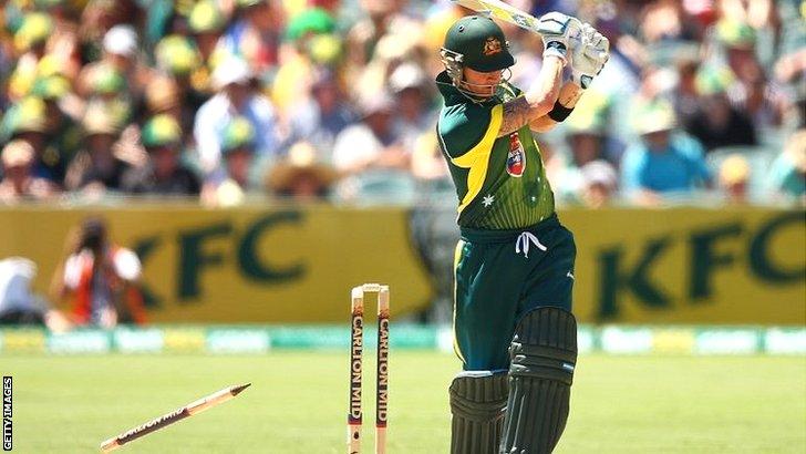 Australia captain Michael Clarke is bowled by Tim Bresnan