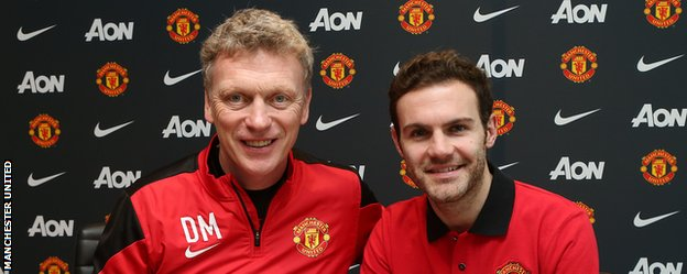 Juan Mata and David Moyes