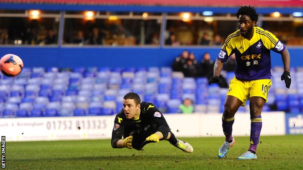 Wilfried Bony scores against Birmingham City