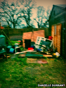 Destroyed shed