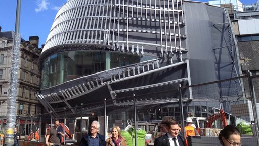 The outside of the new entrance to New Street station