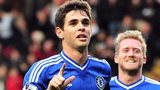 Oscar celebrates scoring for Chelsea against Stoke in the FA Cup