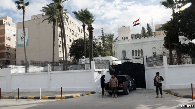 A general view of the front of the Egyptian embassy in Tripoli on 25 January 2014