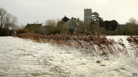 Flooded village of Muchelney in Somerset