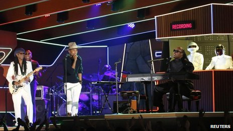 Nile Rogers, Pharrell, Stevie Wonder and Daft Punk on stage at the Grammys