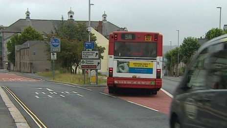 Plymouth bus in restricted bus lane